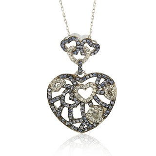 Suzy Levian Sterling Silver Blue & White Sapphire & Brown Diamond Accent Clustered Heart Pendant