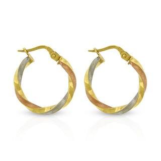 14k Tri-Color Spiral Twist Brush Polish Hoop Earrings