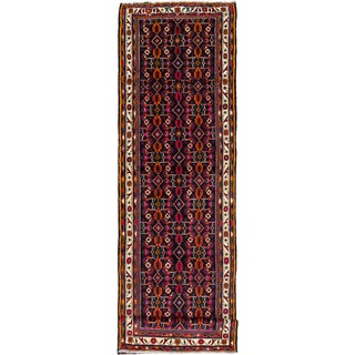 ecarpetgallery Hand Knotted Hosseinabad Blue  Wool Rug (3'5 x 12'4)