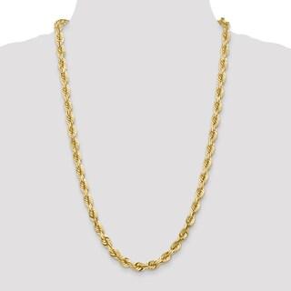 14 Karat Yellow Gold 7mm D/C Rope Chain