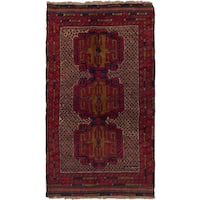 ecarpetgallery Hand Knotted Bahor Blue, Red  Wool Rug (3'7 x 6'3)