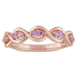 Miadora Signature Collection 14k Rose Gold Pink Sapphire Semi-Eternity Infinity Anniversary Band