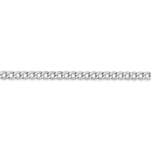 14K White Gold 3.35mm Semi-solid Polished Curb Link Chain by Versil