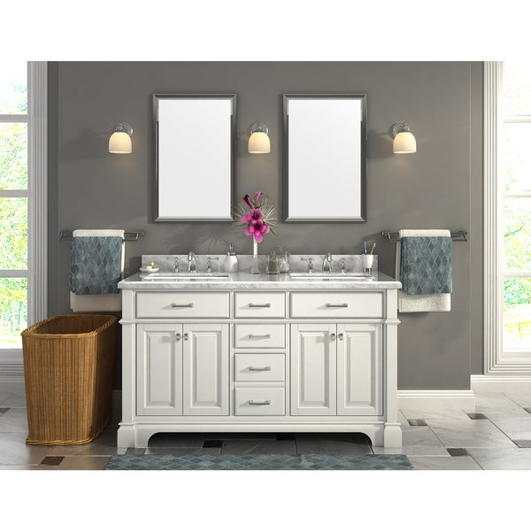 Shop Nova 60 Inch Double Sinks Marble Top Vanity With
