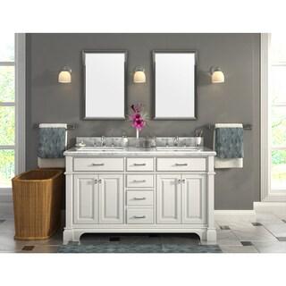 Nova 60-Inch Double Sinks Marble Top Vanity with Backsplash