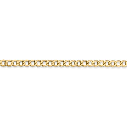 14K Yellow Gold 3.35mm Semi Solid Curb Link Chain Necklace by Versil