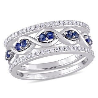 Miadora Signature Collection 14k White Gold 1/4ct TDW Diamond and Sapphire 3-Piece Infinity Ring Set (G-H, I1-I2)