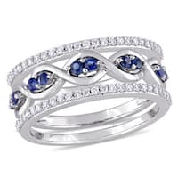 Miadora Signature Collection 14k White Gold 1/4ct TDW Diamond and Sapphire 3-Piece Infinity Ring Set