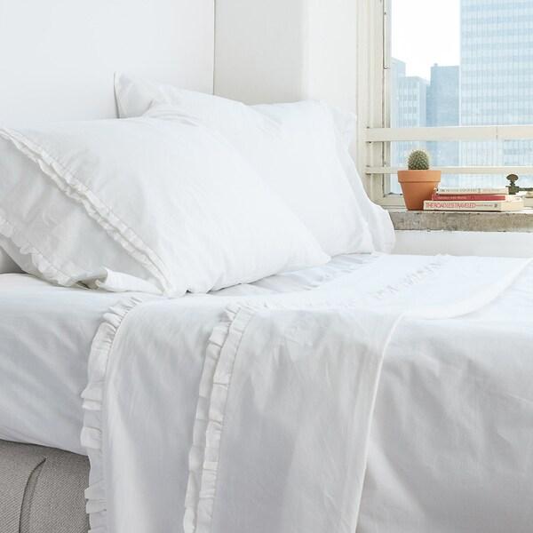 Dainty White Ruffled Pillowcase Set
