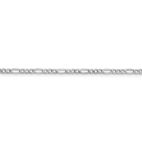 14 Karat White Gold 2.5mm White Gold Semi-solid Figaro Necklace by Versil