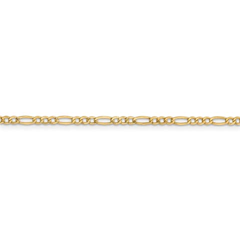Versil 14 Karat Yellow Gold 2.5mm Semi-solid Figaro Chain Necklace
