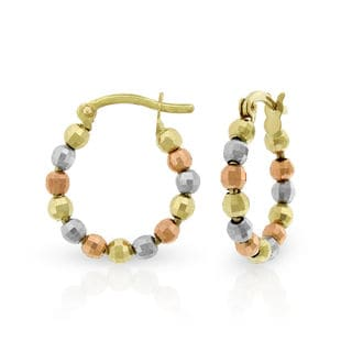 14k Tri-Color Gold Fancy Hammered Spinning Bead Hoop Earrings