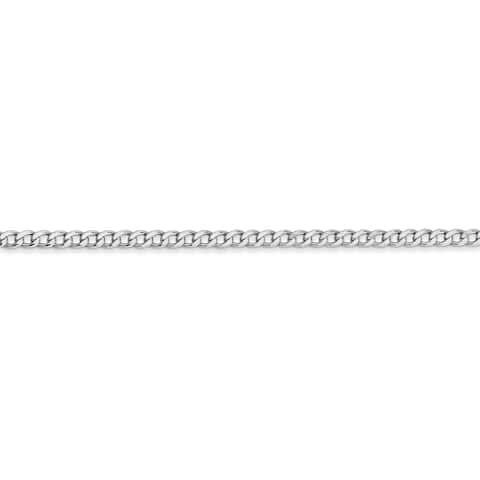 Versil 14 Karat White Gold 2.5mm Semi-solid Curb Link Chain