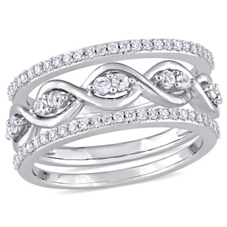 Miadora Signature Collection 14k White Gold 1/4ct TDW Diamond and White Sapphire 3-Piece Infinity Ring Set (G-H, I1-I2)