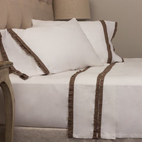 Dainty Walnut Brown Ruffled Pillowcase Set