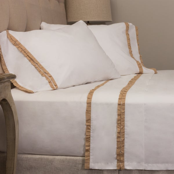 Dainty Taupe Ruffled Pillowcase Set