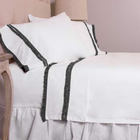 Dainty Charcoal Ruffled Pillowcase Set