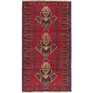ecarpetgallery Hand Knotted Baluch Red  Wool Rug (3'6 x 6'5)