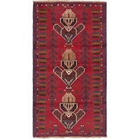 ecarpetgallery Hand Knotted Baluch Red Wool Rug - 3'6 x 6'5