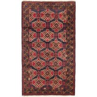 ecarpetgallery Hand Knotted Royal Balouch Blue, Red Wool Rug - 3'7 x 6'0
