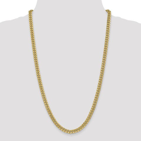 14K Polished Yellow Gold 6mm Hollow Miami Cuban Chain by Versil