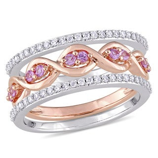 Miadora Signature Collection 14k White Rose Gold 1/4ct TDW Diamond Pink Sapphire 3-Piece Infinity Ring Set (G-H,I1-I2)