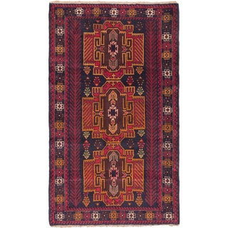 ecarpetgallery Hand Knotted Royal Balouch Blue, Brown  Wool Rug (3'7 x 6'0)