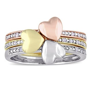 Miadora Signature Collection 2-Tone 14k White Yellow & Rose Gold 1/10ct TDW Diamond 3-Piece Heart Ring Set (G-H,I1-I2)