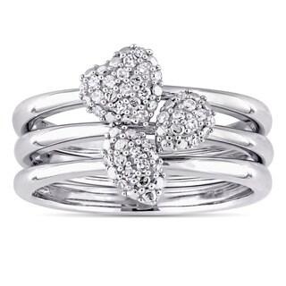 Miadora Signature Collection 14k White Gold 1/6ct TDW Diamond Heart and Leaf Three-Piece Ring Set (G-H, I1-I2)
