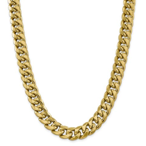 Versil 14 Karat Yellow Gold 15 mm Hollow Miami Cuban