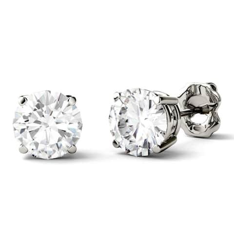 Charles & Colvard 14k Gold 2ct DEW Forever One Round Colorless Moissanite Stud Earrings - White