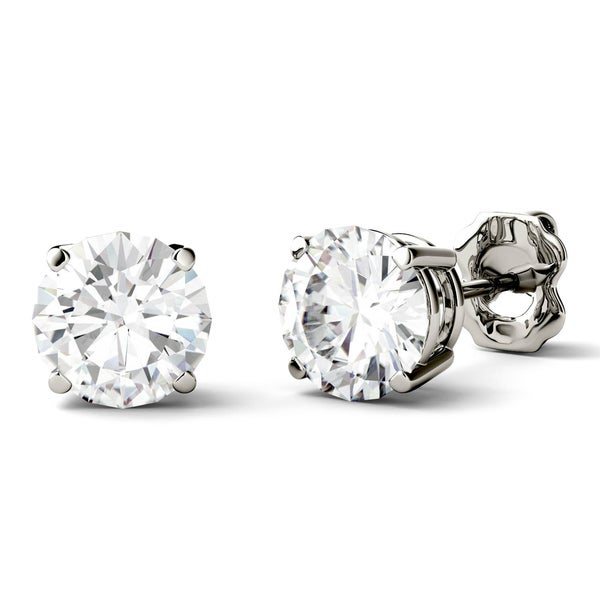 ab5403f24 Charles & Colvard 14k Gold 2ct DEW Forever One Round Colorless  Moissanite Stud Earrings -