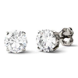 Charles Colvard 14k Gold 2ct Dew Forever One Round Colorless Moissanite Stud Earrings White