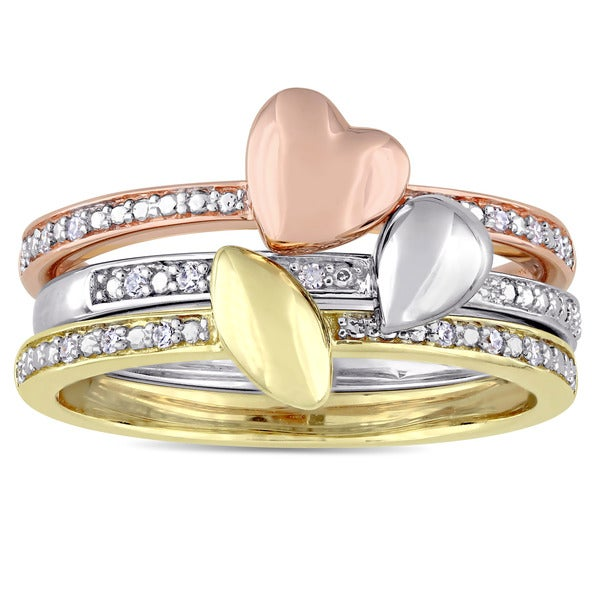 Miadora Signature Collection 3-Tone 14k White Yellow and Rose Gold 1/10ct TDW Diamond 3-Piece Heart Ring Set (G-H,I1-I2)