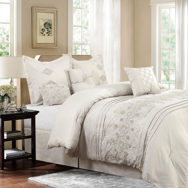 Registry Ivory 7-piece Embroidered Comforter Set