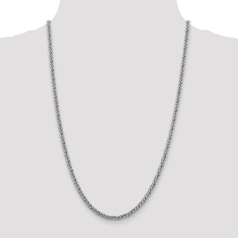 14K White Gold 4.30mm Semi Solid 3-Wire Wheat Chain by Versil