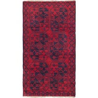 ecarpetgallery Hand Knotted Bahor Blue, Red  Wool Rug (3'7 x 6'5)