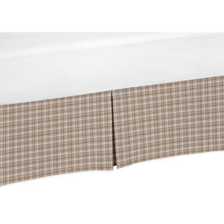 Sweet Jojo Designs All Star Sports Collection Brown Cotton Plaid Crib Bed Skirt