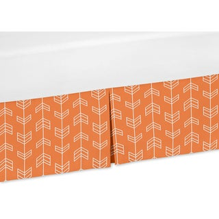 Sweet Jojo Designs Orange and White Arrow Collection Orange and White Arrow Crib Bed Skirt