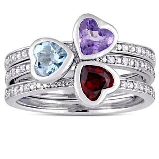 Miadora Signature Collection 14k White Gold Amethyst Garnet Sky-Blue Topaz 1/10ct TDW Diamond Heart Ring Set (G-H,I1-I2)
