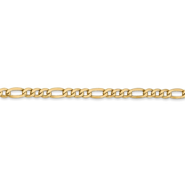 10k 3.5mm Semi-solid Figaro Chain Necklace Length Options 16 18 20 22 24