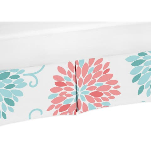 Sweet Jojo Designs Emma Collection Coral and Turquoise Floral Crib Bed Skirt