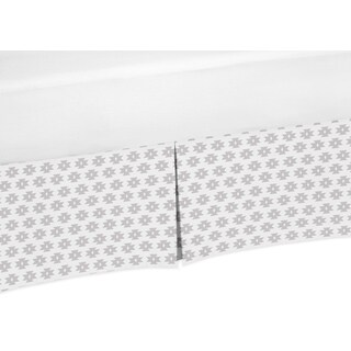 Sweet Jojo Designs Feather Collection Grey Tribal Geometric Print Crib Bed Skirt