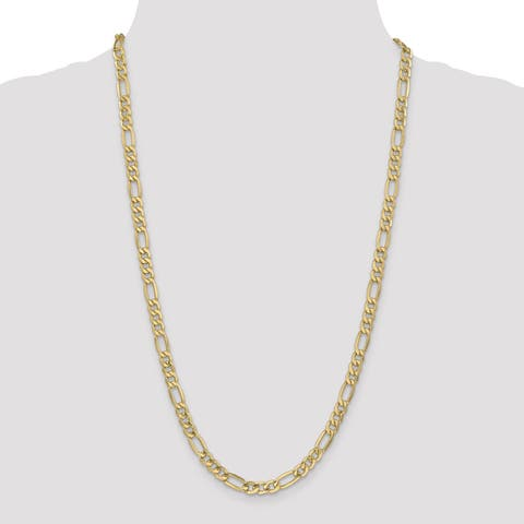 Versil 14 Karat Yellow Gold 6.25mm Semi-solid Figaro Chain Necklace