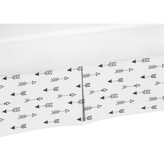 Sweet Jojo Designs Black and White Fox Collection Arrow Print Microfiber Crib Bed Skirt