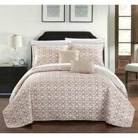 Chic Home 9-piece Pamelia Taupe Fleur De Lis Patterned Reversible Quilt Set