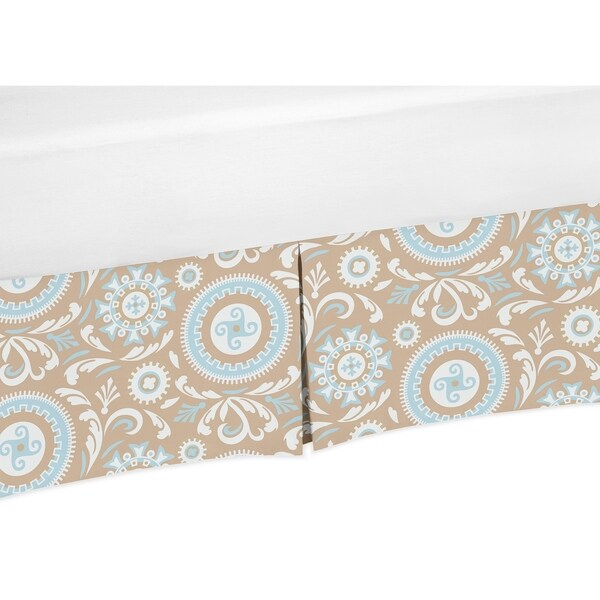 Sweet Jojo Designs Blue and Taupe Hayden Collection Medallion Print Crib Bed Skirt. Opens flyout.