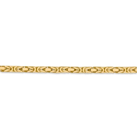 Versil 14 Karat Yellow Gold 3.25mm Byzantine Chain Necklace