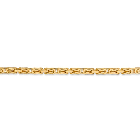 14 Karat Yellow Gold 2.5mm Byzantine Chain Necklace