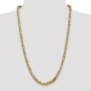 14k Yellow Gold 5.25mm Byzantine Chain Necklace